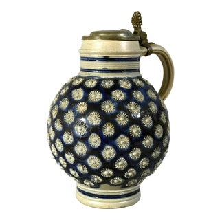 Large Westerwald Stoneware Jug with Original Pewter Cover, Third quarter 17th century.