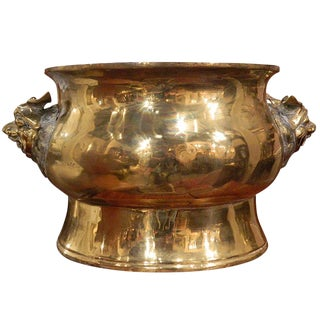 Large Brass Jardiniere in an Asian Motif, 19th Century For Sale