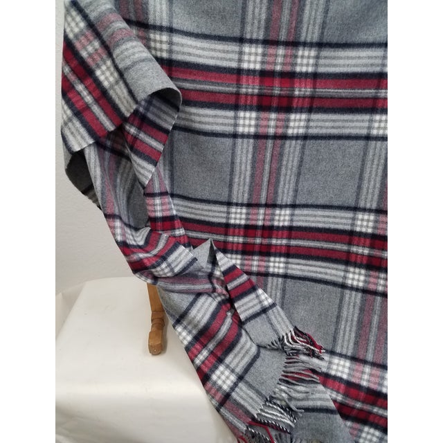 Wool Throw Red Black Gray WHite Plaid - Made in England For Sale In Dallas - Image 6 of 12
