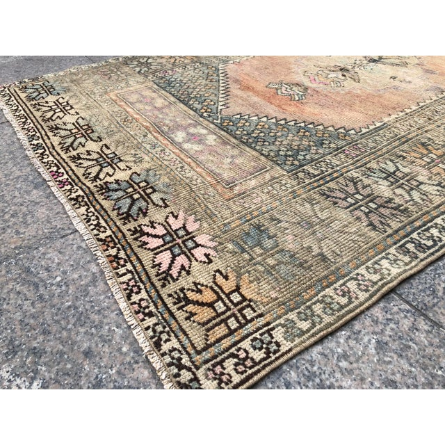 Pink 1960s Turkish Bohemian Antique Faded Floor Rug - 3′1″ × 5′1″ For Sale - Image 8 of 11