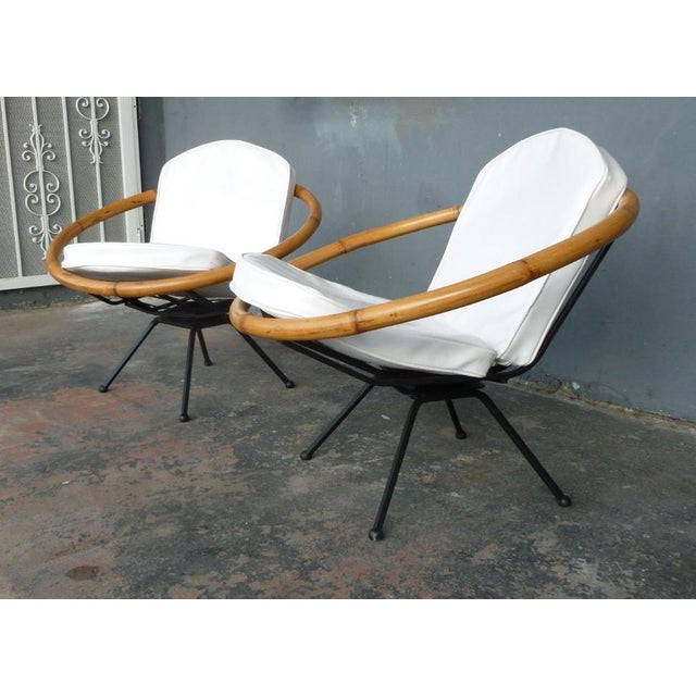 Mid-Century Modern Rare Mid Century Flying Saucer Ritts Tropitan Rattan and Iron Patio Chairs Restored For Sale - Image 3 of 9