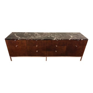1960s Florence Knoll 4 Position Credenza With Marble Top For Sale
