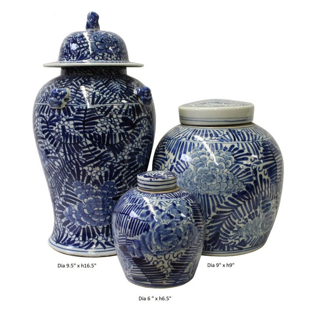 Chinese Set of 3 Blue White Abstract Flower Temple Ginger Jars For Sale - Image 5 of 5