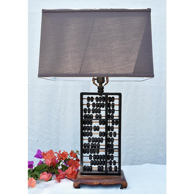 """Vintage Abacus table lamp with a new linen shade. Overall: 29""""H x 9""""W x 6""""D Shade: 17""""W x 10""""H"""