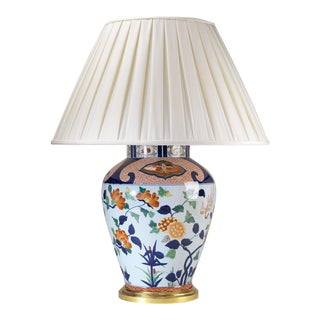 Vaughan Large Glazed Ceramic Imari Vase Gold Gilt Wood Base Lamp With Shade For Sale
