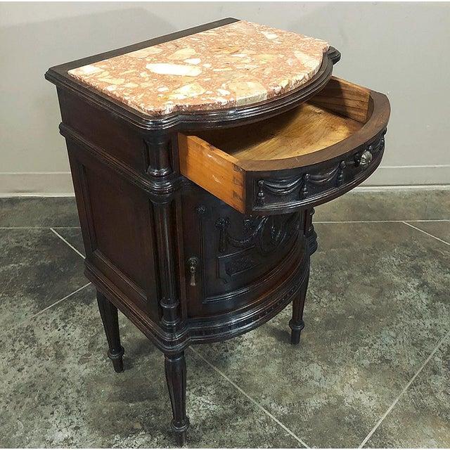 Pair 19th Century Italian Walnut Louis XVI Marble Top Nightstands For Sale - Image 10 of 13