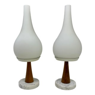Mid Century Modern Teak Marble & White Glass Table Lamps - Set of 2 For Sale