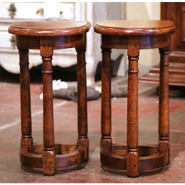 19th Century Louis XIII Oak Three-Leg Demilune Side Tables - a Pair For Sale - Image 9 of 9