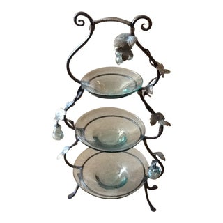3 Tier Glass Serving Piece With Decorative Metal Frame For Sale