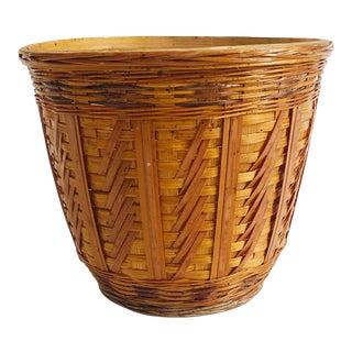 Vintage Woven Plant Basket With Plastic Liner For Sale