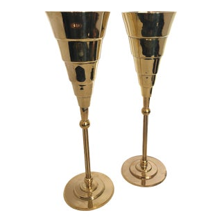 Mid-Century Brass Champagne Flutes by Larry Laslo for Towle Silversmith, A-Pair For Sale