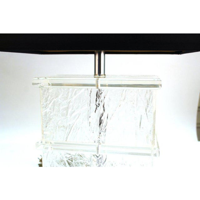 Mid-Century Modern Lucite Crackle Table Lamps With Black Shades - a Pair For Sale - Image 11 of 13