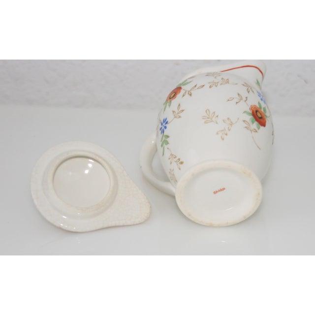 Vintage Mid-Century Japan Ceramic Floral Design Lidded Syrup Pitcher For Sale In West Palm - Image 6 of 9