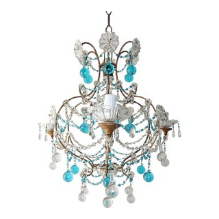 1920s French Blue & Clear Murano Drops Crystal Giltwood Chandelier For Sale