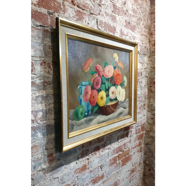 Green Frode Dann Still Life of Dahlias Oil Painting, 1942 For Sale - Image 8 of 10