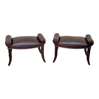 Hickory Chair Co Leather Benches/Footstools - a Pair For Sale