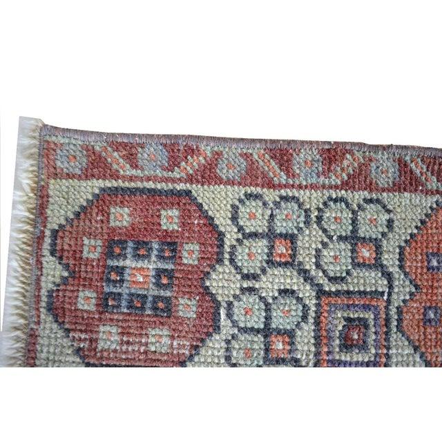 Faded Muted Colors Impressive Medallion Vintage Ushak Rug Low Pile Distressed Area Rug - 3'5'' X 5'8'' For Sale - Image 6 of 8