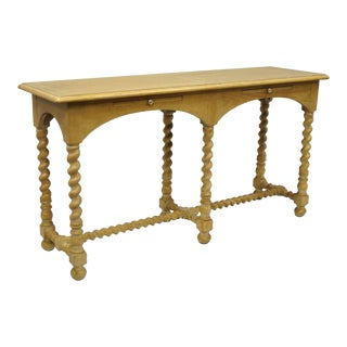Henredon Country French Jacobean Barley Twist Oak Long Console Server Table