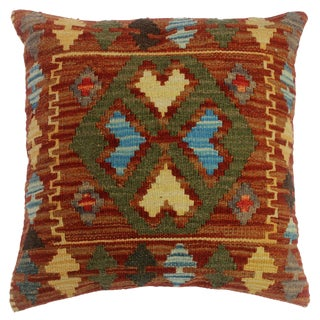 """Chas Red/Green Hand-Woven Kilim Throw Pillow(18""""x18"""") For Sale"""