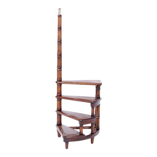 Faux Bamboo and Leather Library Step or Stairs For Sale