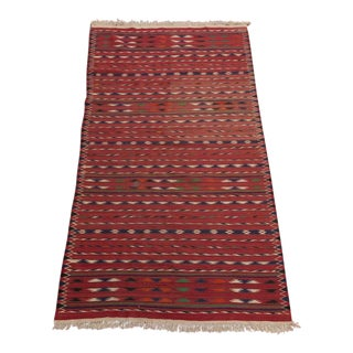 Stripe Kilim Rug Southwest Geometric Flat Weave Wool