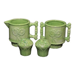 Green-Glazed Floral-Decorated Creamer, Sugar and Salt & Pepper Set - 4 Pcs.