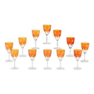 Set of 24-Pieces Signed Baccarat Tangerine Crystal Goblets, 12 Wines & 12 Waters For Sale