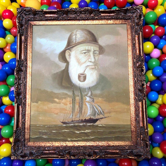 Paint 1960s Vintage Captain and Ship Nautical Framed Original Painting For Sale - Image 7 of 9