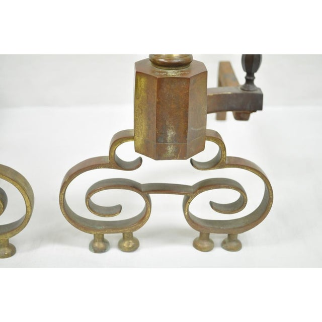 19th Century Antique Brass American Federal Fireplace Mantle Andirons - A Set For Sale - Image 4 of 11