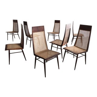 Set of Eight (8) Dining Chairs in Rosewood With Cane Seat and Back For Sale