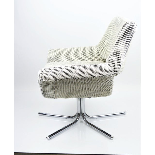 Mod Swivel Chair on Chrome Base-New Upholstery For Sale - Image 5 of 6