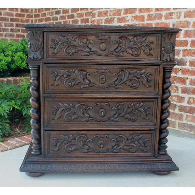 Oak Antique French Oak Mid-19th Century Renaissance Revival Barley Twist 3-Drawer Chest Entry Commode Cabinet For Sale - Image 7 of 13