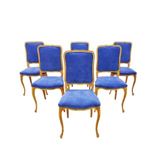 Set of 6 French Louis XV Country Style Newly Upholstered Blue Velvet Dining Chairs