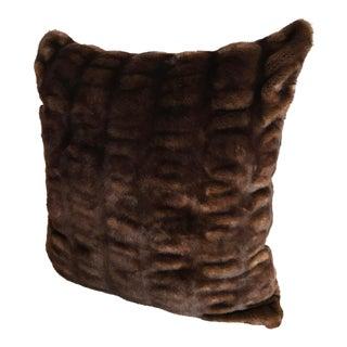 """Faux Fur Ruched Sable 22"""" Pillow Sham For Sale"""