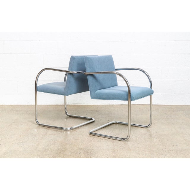 1990s Mies Van Der Rohe Blue Brno Dining Chairs For Sale - Image 5 of 11