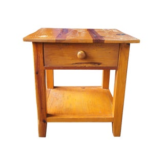 Country Arhaus Old World Distressed Pine Accent Table For Sale