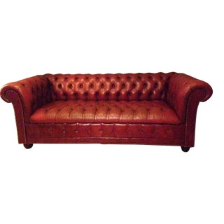 Classic Mid-Century Ox-Blood Red Tufted Leather Chesterfield Sofa For Sale