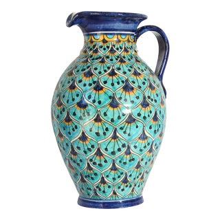 Ceramic Glazed Pitcher Handcrafted in Spain For Sale