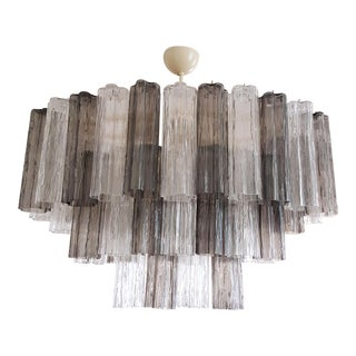 Pair of Oval Tronchi Venini Murano Glass Chandeliers, Mid-Century Modern, 1970s For Sale
