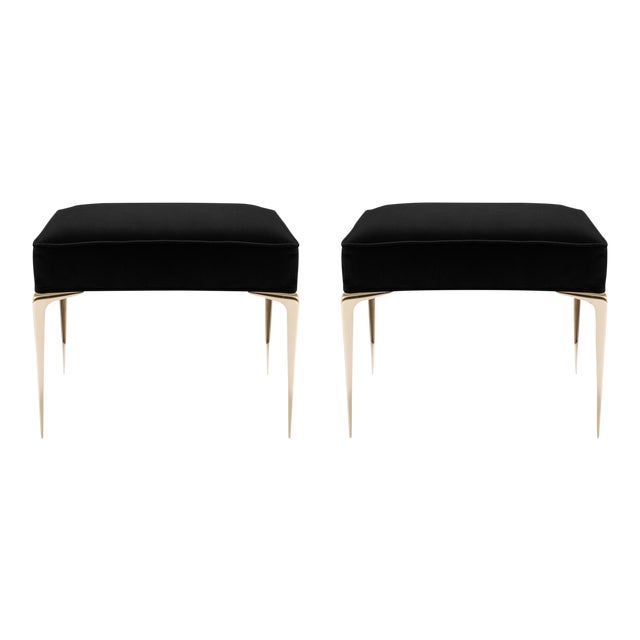 Colette Brass Ottomans in Noir Velvet by Montage, Pair For Sale