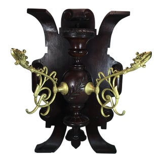 C1880 Victorian Carved Walnut Wall Mount With Gilt Bronze Dragon Coat Hooks For Sale