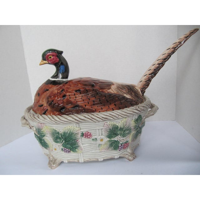 1990s Vintage Pheasant Tureen & Lid W/Ladle by Fitz & Floyd For Sale - Image 5 of 9