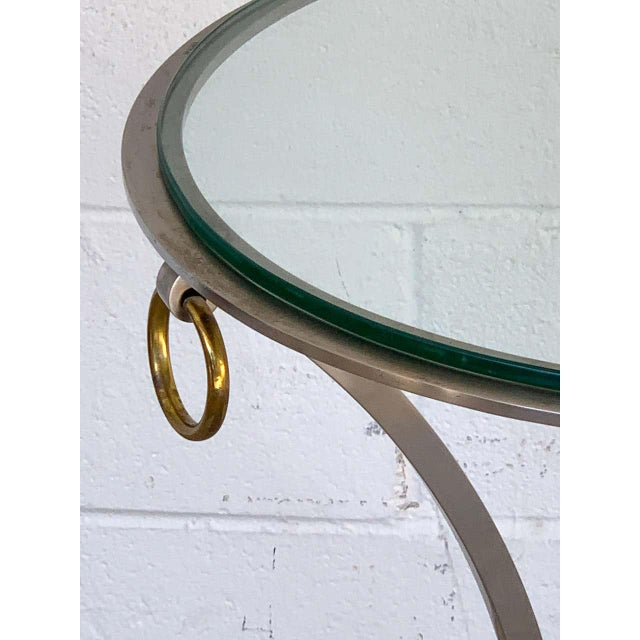 Mid 20th Century Maison Jansen Neoclassical Steel and Brass Gueridon For Sale - Image 5 of 11