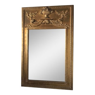 Antique French Empire Style Gilt Trumeau Mirror For Sale