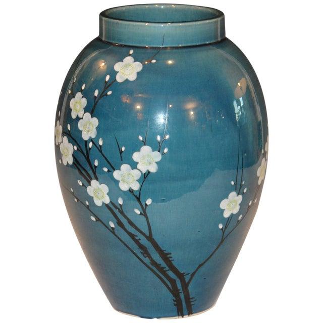 Antique Awaji Pottery Japanese Prunus Cherry Blossom Signed Ikebana Flower Vase For Sale