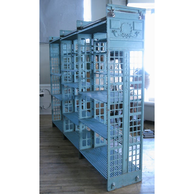 Industrial Early 20th Century Antique Cast Iron Archival Library Bookcase by Snead For Sale - Image 3 of 8
