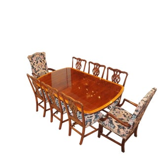Ethan Allen Dining Banquet Table & Chairs For Sale