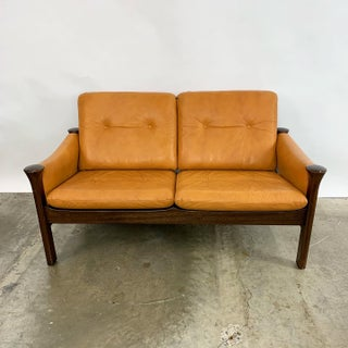 Danish Leather & Rosewood Loveseat Designed by Arne Vodder for Cado Preview