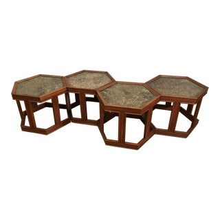 John Keal for Brown Saltman Walnut and Stone Glass Top Hex Tables - Set of 4