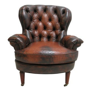 Council Furniture New Orleans Tufted Leather Chesterfield Wing Chair For Sale
